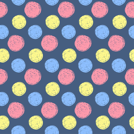 childish: Hand drawn doodle seamless pattern background. Handmade yellow, red and blue circles  isolated on stylish cover