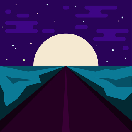 night road: Night road and big moon. Abstract illustration for use in design. Flat style.