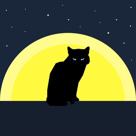 Gatto nero silhouette contro la luna. Natura e gli animali tema. stile piatto.