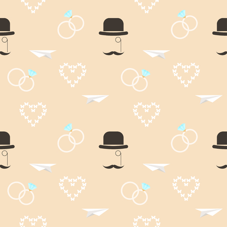 mirth: wedding seamless romantic decorative pattern background with cartoon elements isolated on stylish background for use in design for card, invitation, poster, banner, placard, billboard cover