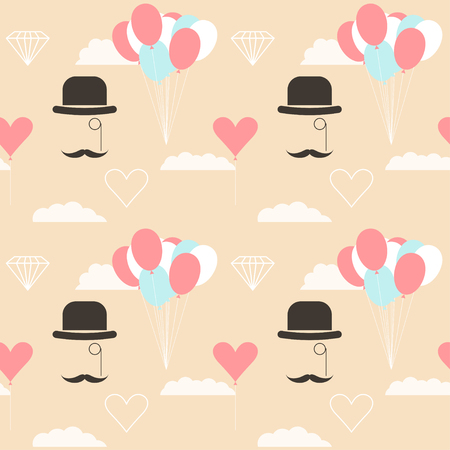 gladness: wedding seamless romantic decorative pattern background with cartoon elements isolated on stylish background for use in design for card, invitation, poster, banner, placard, billboard cover