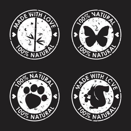 distort: Stamp set. Round old distort eco friendly stamps for use in design. Nature, animal products, wildlife theme. White stamp icon set isolated on black cover. Illustration