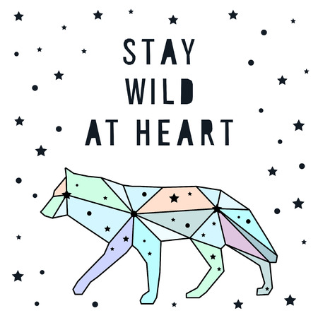 clumsy: Card template. Stay wild at heart. Abstract handmade letters pattern background.