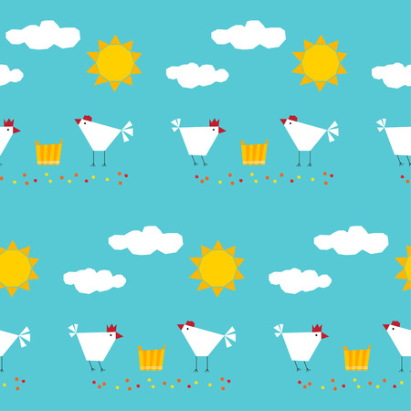 Abstract childish geometric seamless pattern background. Happy funny farm theme. Handmade angular applique elements isolated on stylish cover. Chicken, sun and clouds.