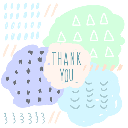 Thank you doodle card template. Abstract handmade letters pattern. Illustration