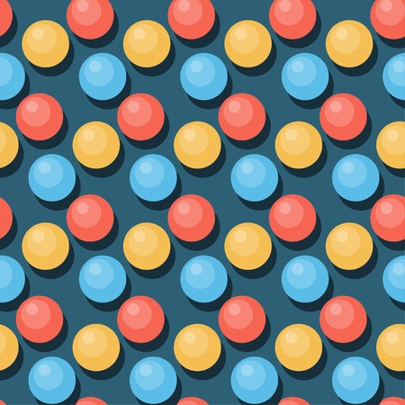 handful: Beads seamless pattern background. Flat style. Cartoon bright circle beads isolated on blue cover for use in design. Illustration