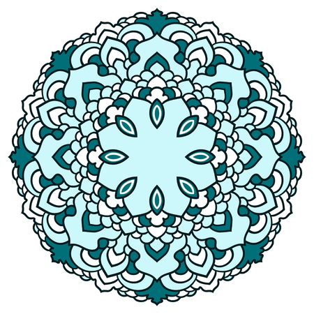 Hand drawn ornamental lace round floral mandala for use in design card, invitation, poster, brochures, notebook, datebook, pocketbook, album, sketch book cover or pages Illustration