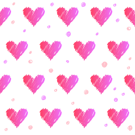 holly day: Doodle heart seamless pattern background. abstract pink and red gradient colored heart shapes isolated on white for design card, invitation, book, album, poster, brochures, notebook etc Illustration
