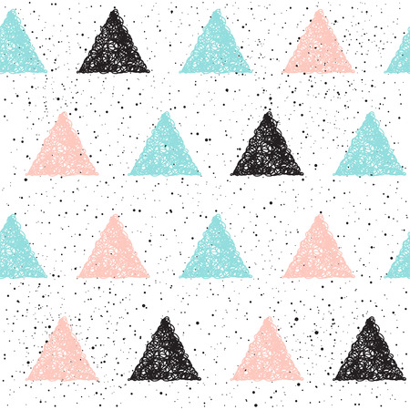 Doodle triangle seamless background. Black, blue and pink triangle. Abstract seamless pattern for card, invitation, poster, banner, placard, diary, album, sketch book cover etc.