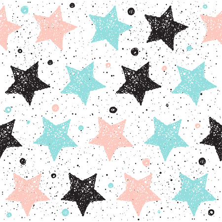 Doodle star seamless background. Black, blue and pink star. Abstract seamless pattern for card, invitation, poster, banner, placard, diary, album, sketch book cover etc. Illustration
