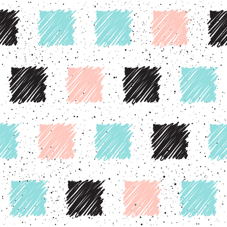 Doodle square seamless background. Black, blue and pink square. Abstract seamless pattern for card, invitation, poster, banner, placard, diary, album, sketch book cover etc.