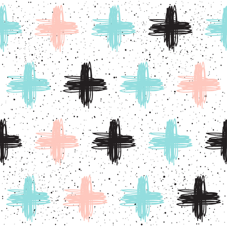 Doodle cross seamless background. Black, blue and pink cross. Abstract seamless pattern for card, invitation, poster, banner, placard, diary, album, sketch book cover etc.