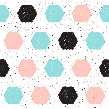 Doodle hexagon seamless background. Black, blue and pink circle. Abstract seamless pattern for card, invitation, poster, banner, placard, diary, album, sketch book cover etc. Illustration