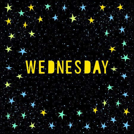 Wednesday Card Template. Handmade Childish Angular Applique Star ...