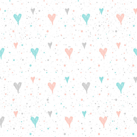 Doodle heart seamless pattern background. Hand drawn heart isolated on white for design card, textile fabric, holiday wrapping paper, garment, t-shirt, banner, wedding placard, book, scrapbook.