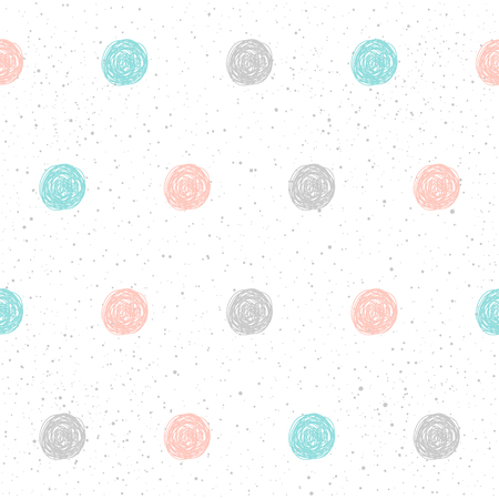 Doodle circle seamless pattern background. Hand drawn circle isolated on black for design card, textile fabric, holiday wrapping paper, garment, t-shirt, banner, placard, book, scrapbook.