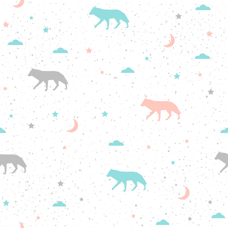 Wolf seamless background. Grey, blue and pink wolf. Abstract seamless pattern for card, book, banner, diary cover, t-shirt, album, textile fabric, garment etc. Nature and animal theme.
