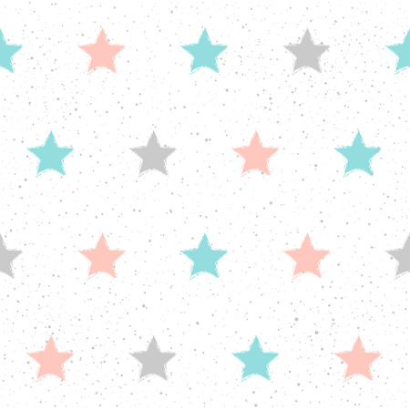 Doodle star seamless pattern background. Hand drawn star isolated on white for design card, textile fabric, holiday wrapping paper, garment, t-shirt, banner, placard, book, scrapbook.