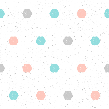 Doodle hexagon seamless pattern background. Hand drawn hexagon isolated on white for design card, textile fabric, holiday wrapping paper, garment, t-shirt, banner, placard, book, scrapbook.