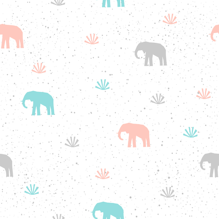 Handmade elephant seamless pattern background. Abstract blue, grey and pink elephant pattern for card, invitation, wallpaper, album, scrapbook, holiday wrapping paper, textile fabric, garment, t-shirt