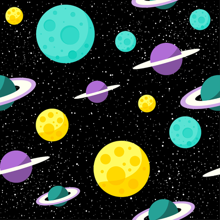 Space planets seamless pattern background on black open space cover for card, invitation, album, sketch book, scrapbook, wrapping paper, textile fabric, garment, t-shirt etc