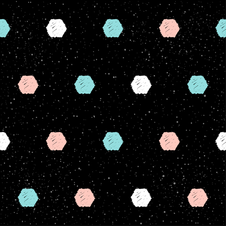 Handmade hexagon seamless pattern background. Abstract blue, white, pink hexagon on black for card, invitation, wallpaper, album, scrapbook, holiday wrapping paper, textile fabric, garment, t-shirt Vectores
