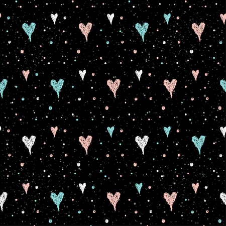 Doodle heart seamless pattern background. Hand drawn heart isolated on black for design card, textile fabric, holiday wrapping paper, garment, t-shirt, banner, placard, book, scrapbook.
