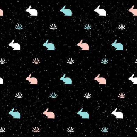 Fondo de patrón transparente hecho a mano. Patrón abstracto de conejo azul, blanco y rosa para tarjeta, invitación, papel tapiz, álbum, álbum de recortes, papel de regalo de vacaciones, tela textil, ropa, camiseta, etc.