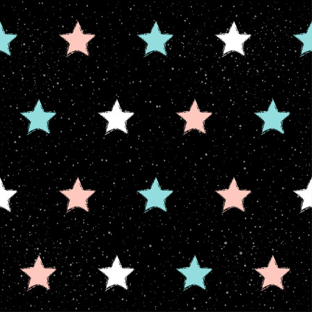 Handmade star seamless pattern background. Abstract blue, white, pink star on black  pattern for card, invitation, wallpaper, scrapbook, holiday wrapping paper, textile fabric, garment, t-shirt etc Illustration