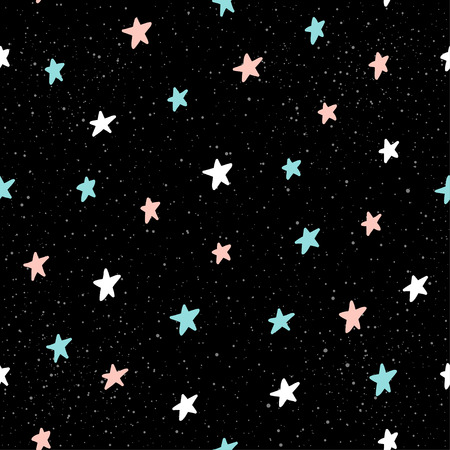 Doodle star seamless pattern background. Hand drawn star isolated on black for design card, textile fabric, holiday wrapping paper, garment, t-shirt, banner, placard, book, scrapbook.