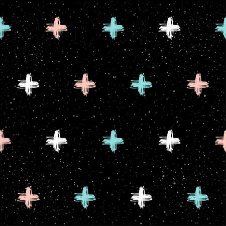Doodle cross seamless pattern background. Hand drawn cross isolated on black for design card, textile fabric, holiday wrapping paper, garment, t-shirt, banner, placard, book, scrapbook.