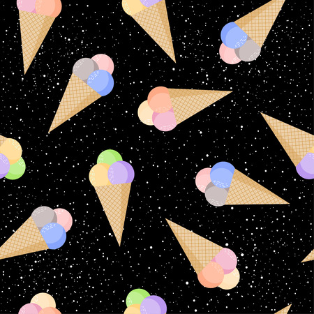 Ice cream childish seamless pattern background. Cartoon Ice cream isolated on black pattern for card, wallpaper, album, scrapbook, holiday wrapping paper, textile fabric, garment, t-shirt design etc. Illustration