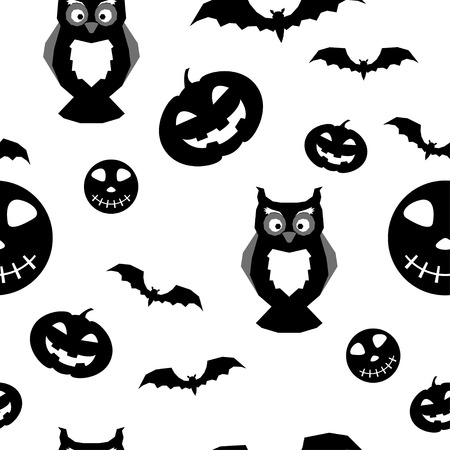 Abstract monochrome happy halloween seamless background.