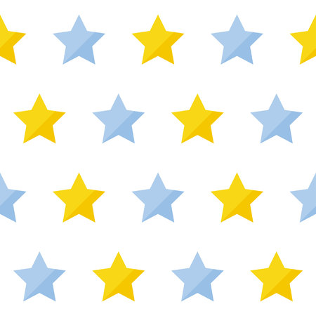 Abstract handmade star seamless pattern background. Hand drawn cover for design gift card, birthday wallpaper, album, scrapbook, holiday wrapping paper, bag print, t shirt, baby nappy etc. Ilustración de vector