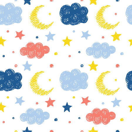 Abstract handmade seamless pattern background. Childish handcrafted wallpaper for design card, baby nappy, diaper, scrapbook, holiday wrapping paper, textile, bag print, t shirt etc. Ilustração Vetorial