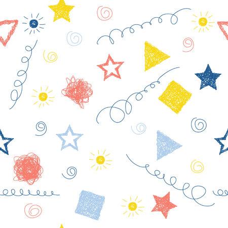 Fondo abstracto hecho a mano sin patrón. Papel tapiz infantil hecho a mano para tarjetas de diseño, pañales para bebés, pañales, álbumes de recortes, papel de regalo de vacaciones, textiles, estampado de bolsos, camisetas, etc. Ilustración de vector