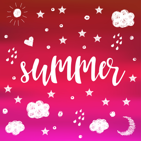 Summer. Handwritten lettering and hand drawn doodle elements for design party card, invitation, t shirt, book, banner, childish poster, scrapbook, album etc.