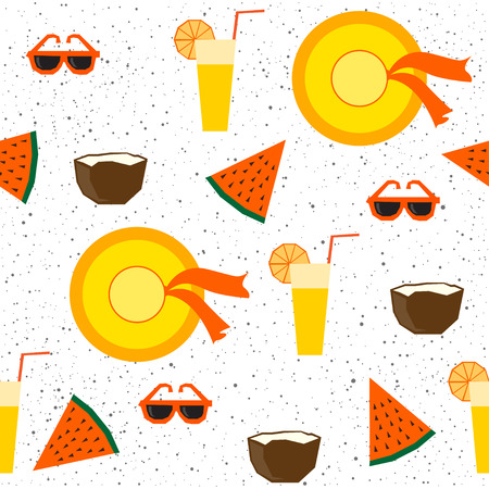 Summer time fun, party, rest, vacation theme for design card, invitation, bag pattern, textile fabric, garment, album, t shirt etc. Abstract bright seamless handmade pattern background.