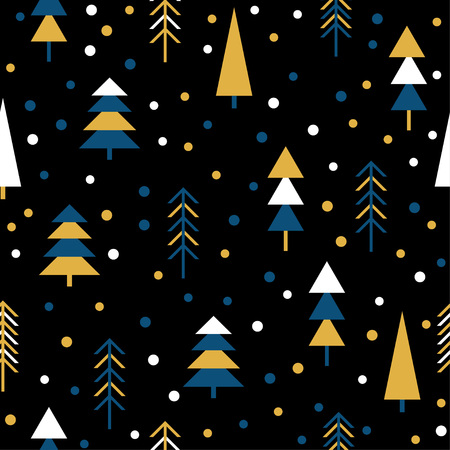 Handmade graphic forest seamless pattern. Abstract tree for design brthday card, modern party invitation, winter season shop sale, holiday advertising, bag print, t shirt etc.