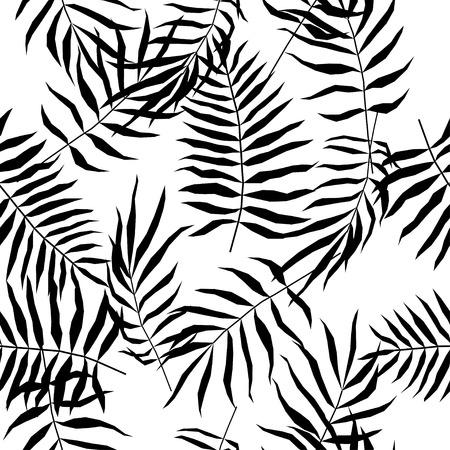 Modèle sans couture de feuille tropicale. Échantillon de plantes abstraites pour la conception d'une carte de fête, d'une invitation à une fête moderne, d'une vente de magasin de printemps ou d'été, d'une publicité de vacances, d'un sac ou d'une robe imprimée, d'un t-shirt, etc. Vecteurs