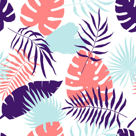 Tropical leaf seamless pattern. Abstract plants swatch for design brthday card, modern party invitation, spring or summer season shop sale, holiday advertising, bag or dress print, t shirt etc. 版權商用圖片 - 122405223