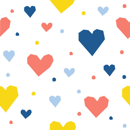 Abstract handmade heart seamless pattern background. Childish handmade craft for design card, cafe menu, wallpaper, gift album, scrapbook, holiday wrapping paper, baby nappy, bag print, t shirt etc. Vectores