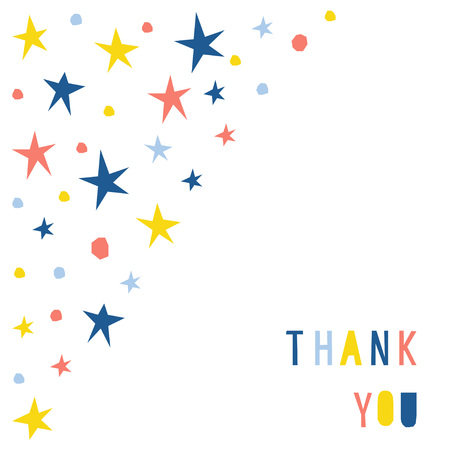 Abstract thank you card template. Handmade childish letters pattern background for design gift card, party invitation, workshop advertising, shop poster, t shirt, bag print etc. Stock Vector - 124890709
