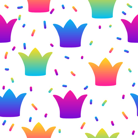 Abstract rainbow seamless pattern background. Modern swatch paint for birthday card, party invitation, sale wallpaper, holiday wrapping paper, fabric, bag print, t shirt, workshop advertising 向量圖像
