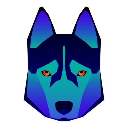 Abstract dog head isolated on white. Graphic cartoon husky dog portrait painted in imaginary colors for design card, invitation, banner, book, scrapbook, t-shirt, poster, sketchbook, album etc.