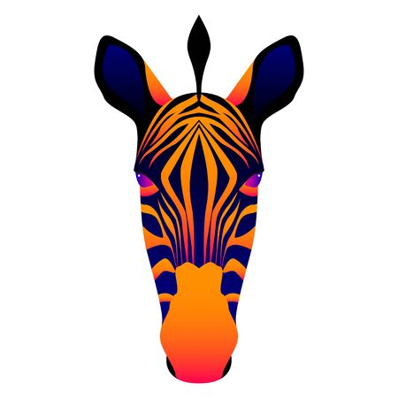 Abstract zebra head isolated on white. Graphic cartoon zebra portrait painted in imaginary colors for design card, invitation, banner, book, scrapbook, t-shirt, poster, scetchbook, album etc. Illustration