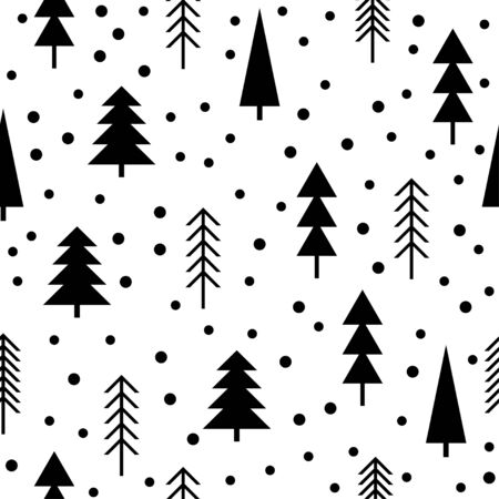 Handmade graphic forest seamless pattern.