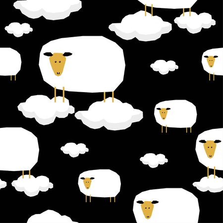 Funny paper cut sheep  seamless pattern background.  イラスト・ベクター素材