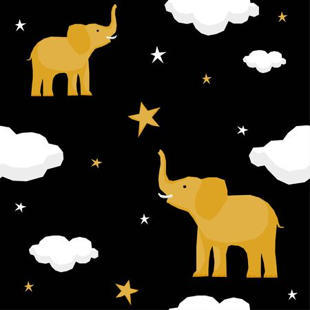 Abstract paper cut star and elephant seamless pattern background.