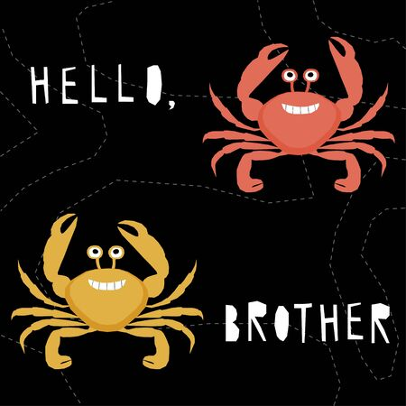 Abstract cute paper cut crab pattern background.